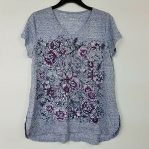 Style&Co Small Gray Dreams Graphic Tee 6AR43